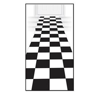 Checkered floor runner - black and white