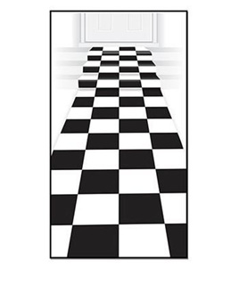 Checkered floor runner - black and white