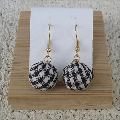Checkered Round Drop Earrings