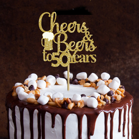 Cheers and Beers to any age Cake Topper