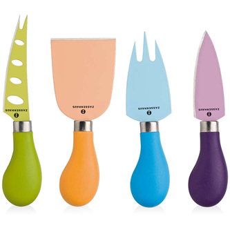 Cheese Knife Set Coloured 4 pce