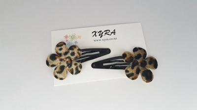 Cheetah Flower Hair Clips