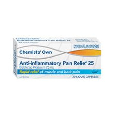 CHEMISTS' OWN ANTI-INFLAMMATORY PAIN RELIEF 25MG 30 CAPSULES