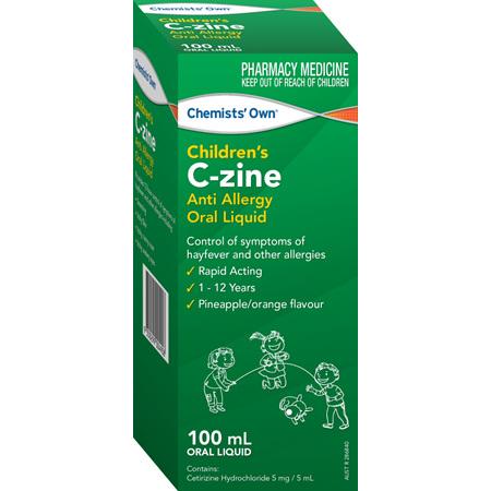 Chemists' Own Children's C-Zine Anti Allergy Oral Liquid 100mL