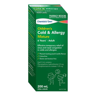 CHEMISTS' OWN CHILDRENS COLD & ALLERGY MIXTURE 200ML