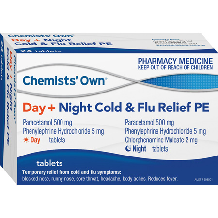 Chemists' Own Cold and Flu PE, Day/Night Tablets, 48 Pack