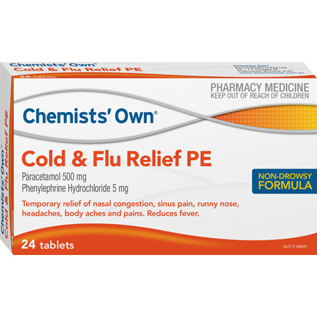 Chemists' Own Cold and Flu PE Tablets, 24 Pack