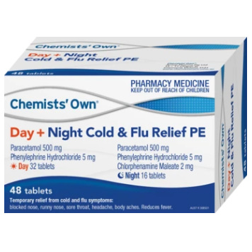 CHEMISTS' OWN COLD & FLU DAY & NIGHT PE 48 TABLETS