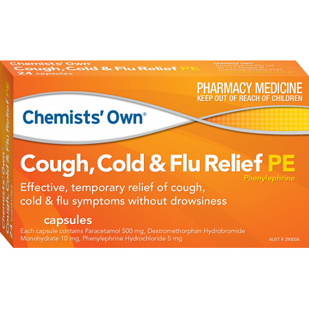 Chemists' Own Cough, Cold and Flu PE Capsules, 24 Pack