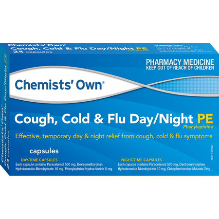 Chemists' Own Cough, Cold and Flu PE, Day/Night Capsules 48 Pack