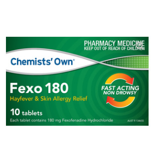 CHEMISTS' OWN FEXO TABLETS 180MG 10 TABLETS