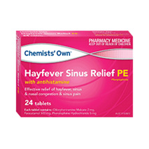 CHEMISTS' OWN HAYFEVER SINUS PE 24 TABLETS