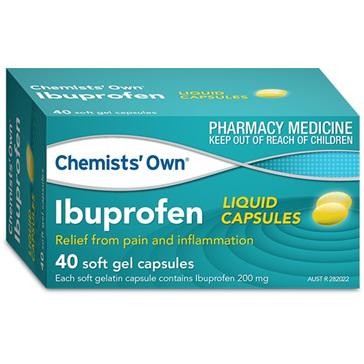 Chemists' Own Ibuprofen 200mg Liquid Capsules 40 Pack