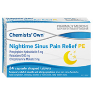 CHEMISTS' OWN NIGHT SINUS RELIEF PE 24 TABLETS