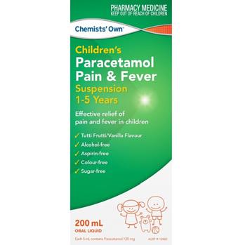 Chemists' Own Paracetamol Pain & Fever 1-5 Years 200mL