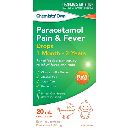 CHEMISTS' OWN PARACETEMOL DROPS COLD & FLU 20ML 1 MONTH - 2 YEARS