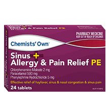 CHEMISTS' OWN SINUS ALLERGY PAIN RELIEF 24 TABLETS