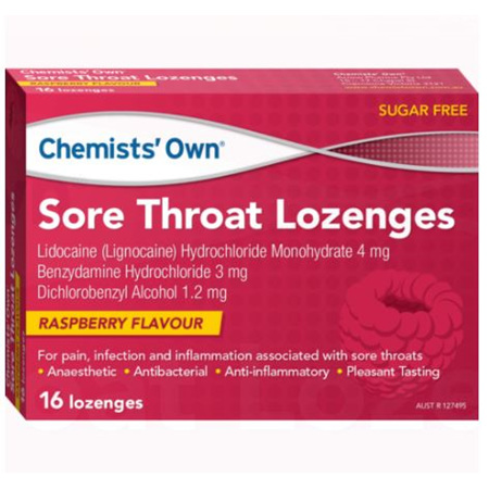 CHEMISTS' OWN SORE THROAT RASPBERRY LOZENGES 16 PACK