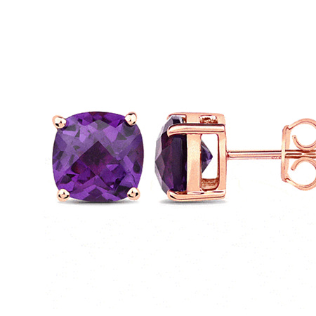 Chequerboard African Amethyst Rose Gold Stud Earrings