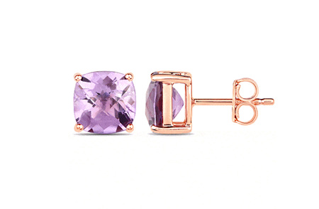 Chequerboard Amethyst Rose Gold Stud Earrings