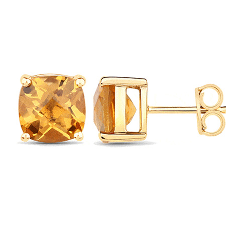 Chequerboard Citrine Yellow Gold Stud Earrings