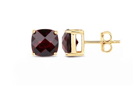 Chequerboard Garnet Gold Stud Earrings