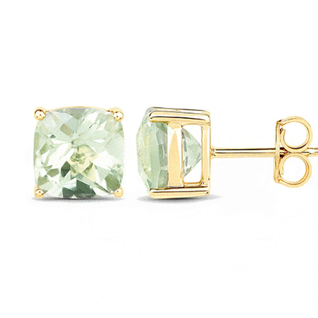 Chequerboard Green Amethyst Gold Stud Earrings