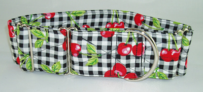 "Cherry Check Designer 2"" Collar - caff 10"