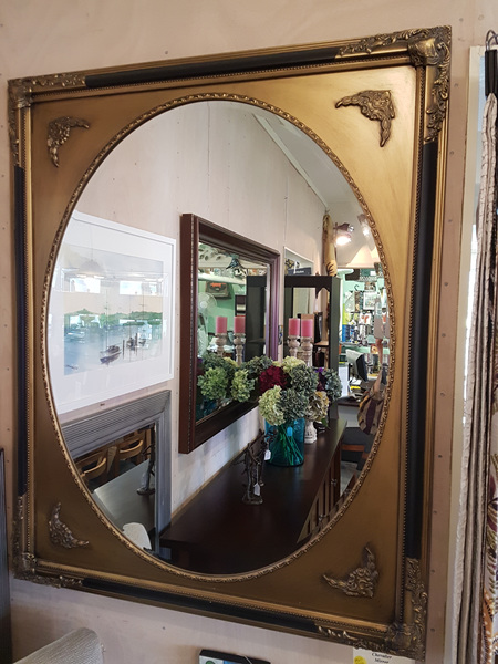 Chevalier Antique Gold & Black Oval Mirror