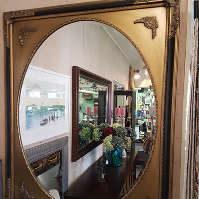 Chevalier Antique Gold & Black Oval Mirror