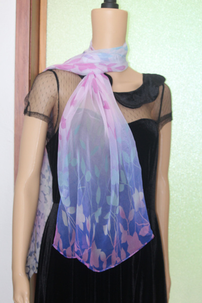 CHIFFON SCARF - BLUE LEAVES CODE: LSO7