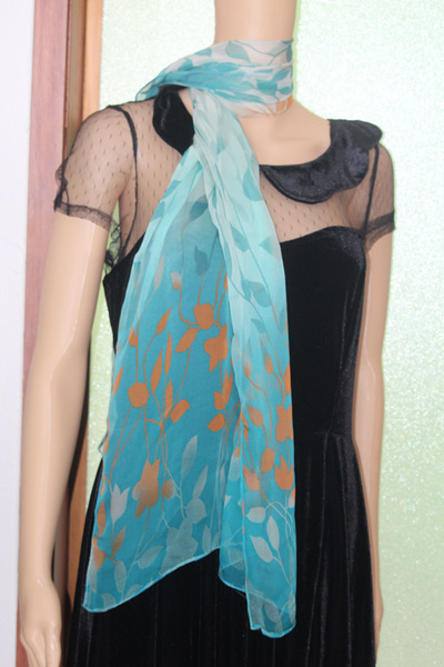 CHIFFON SCARF - GREEN LEAVES CODE: LSO3