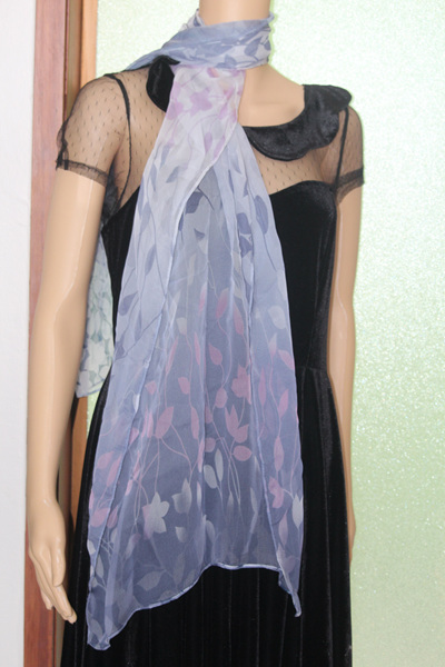CHIFFON SCARF - GREY LEAVES CODE: LSO1