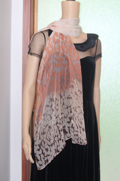 CHIFFON SCARF - LIGHT CHOCOLATE LEAVES CODE: LSO4