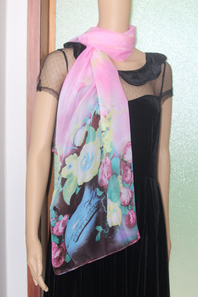CHIFFON SCARF - PINK FLORAL CODE: 43PK