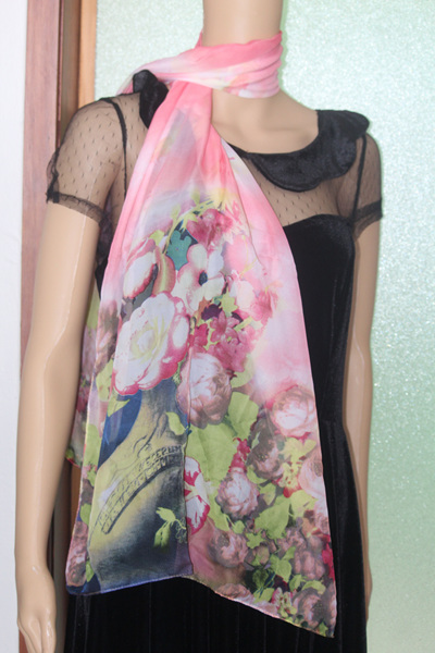 CHIFFON SCARF - WATERMELON PINK FLORAL CODE: 43WR