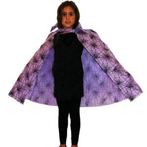 Child's Cape Purple Spiderweb Print