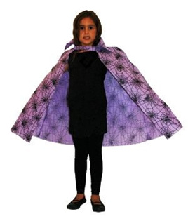 Child's Cape Purple Spiderweb Print