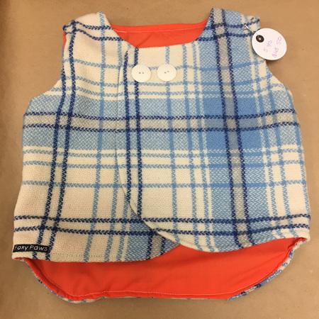 Child's Sleeveless Coat - Blue & White - Size 5