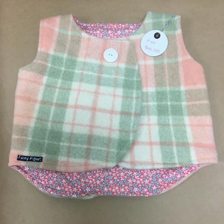 Child's Sleeveless Coat - Peach & Green - Size 2
