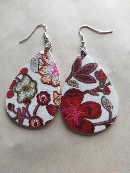 """CHLOE"" Red & White Floral Tear Drop Earring"