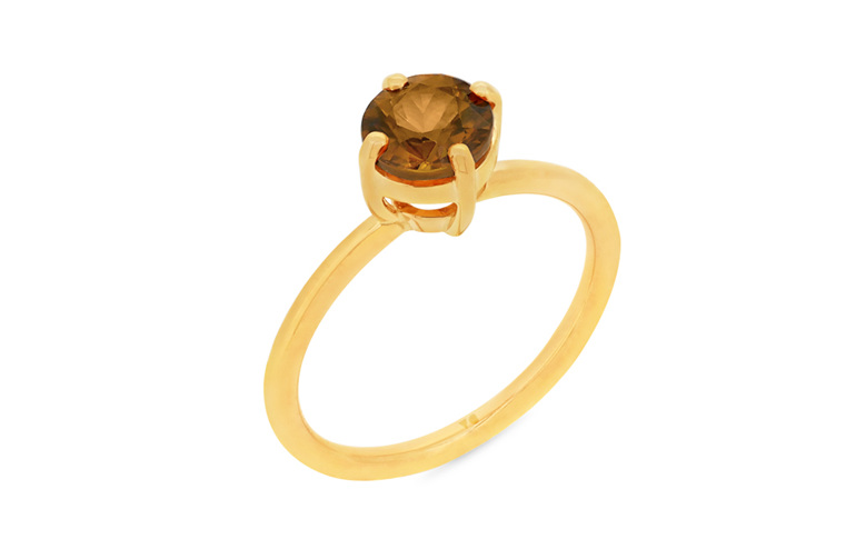 chocolate zircon solitaire ring yellow gold