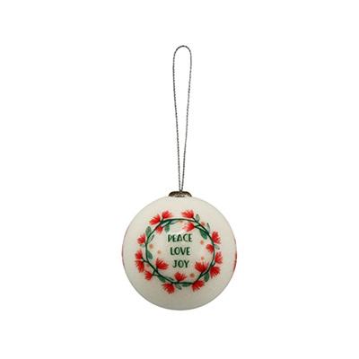 Christmas Bauble Decoration - Pohutukawa Peace, Love, Joy