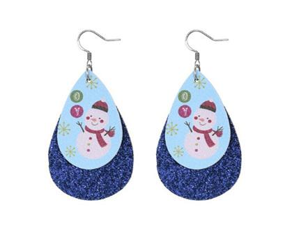 Christmas Design Tear Drop Earrings - Blue Sparkle with Snowman
