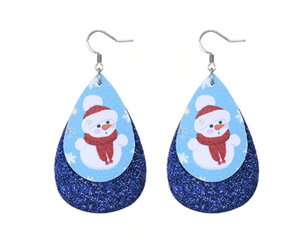Christmas Design Tear Drop Earrings - Blue Sparkle with Snowman #2