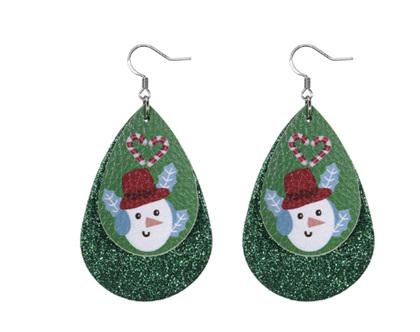 Christmas Design Tear Drop Earrings - Green Sparkle with Snowman & Candycane