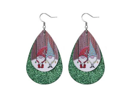 Christmas Design Tear Drop Earrings - Green Sparkle with 2 Elves