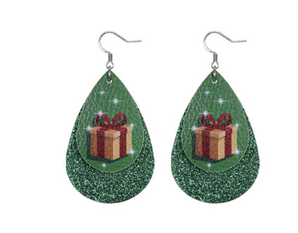 Christmas Design Tear Drop Earrings - Green Sparkle with Present