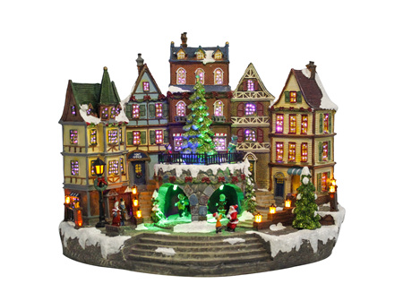 CHRISTMAS FIBER OPTIC VILLAGE WITH   DOUBLE TURNING  FUNCTION W MUSIC