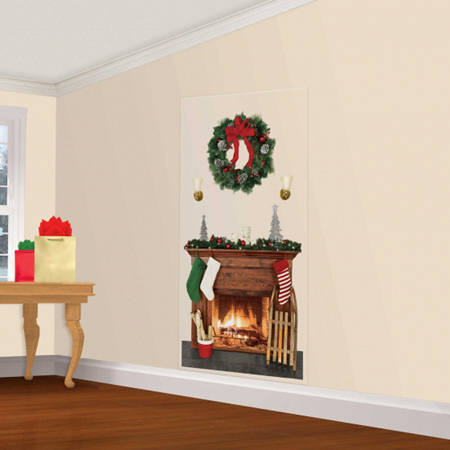 Christmas fireplace and wreath scene setter - great for decorating